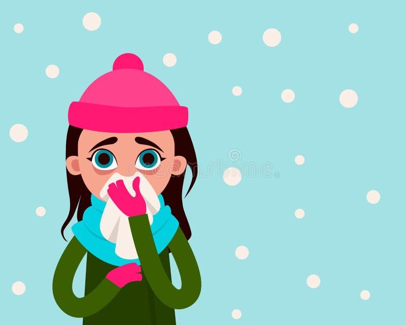 Kobieta z grypą na tle śnieg ilustracja wektor