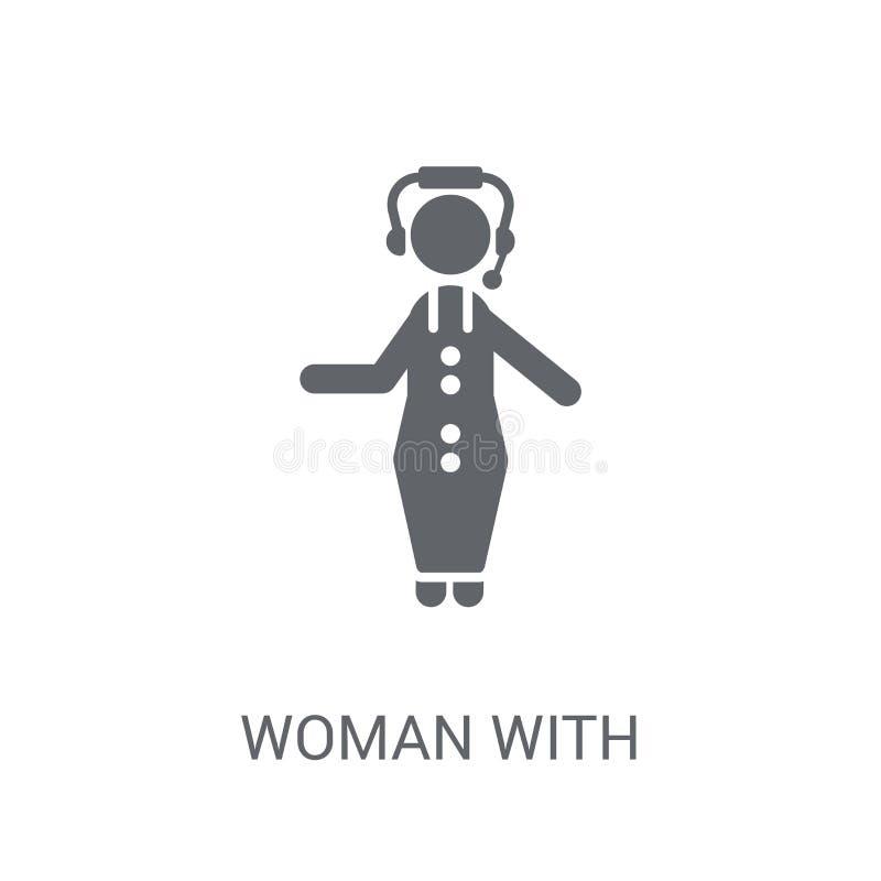 Kobieta z hełmofonów i mikrofonu ikoną Modna kobieta z Hea ilustracja wektor