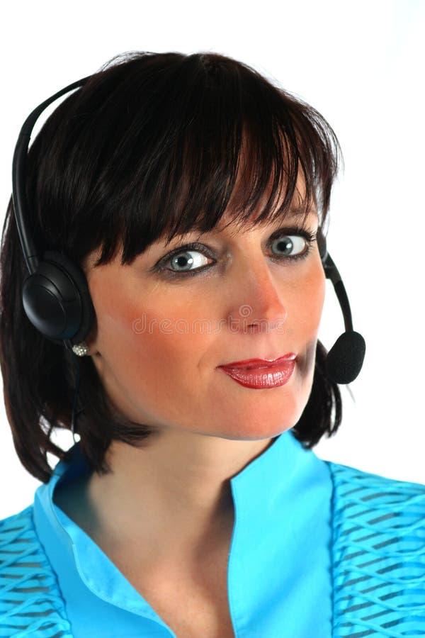 Kobieta z hełmofonem zdjęcia stock