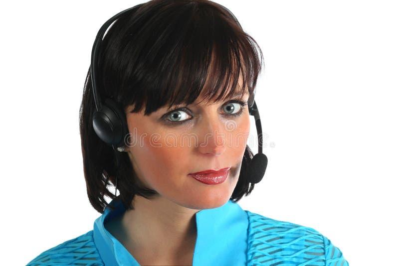 Kobieta z hełmofonem zdjęcie stock