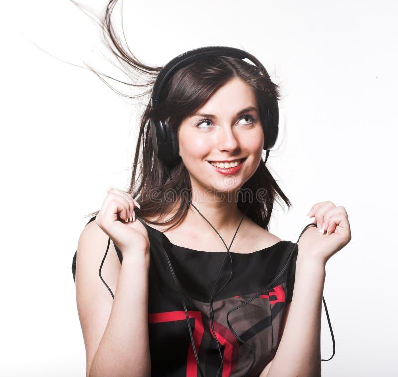 Kobieta z headohones zdjęcia royalty free