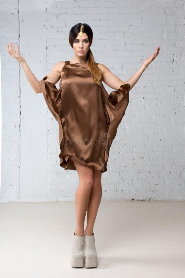Kobieta z Indiańskim jewellery w brown jedwab sukni obrazy stock