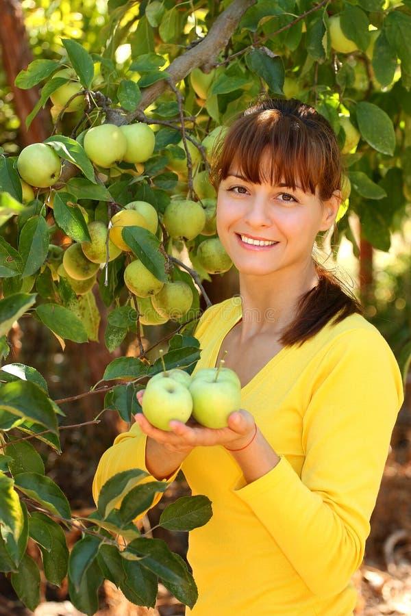 Kobieta z jabłkami obraz royalty free