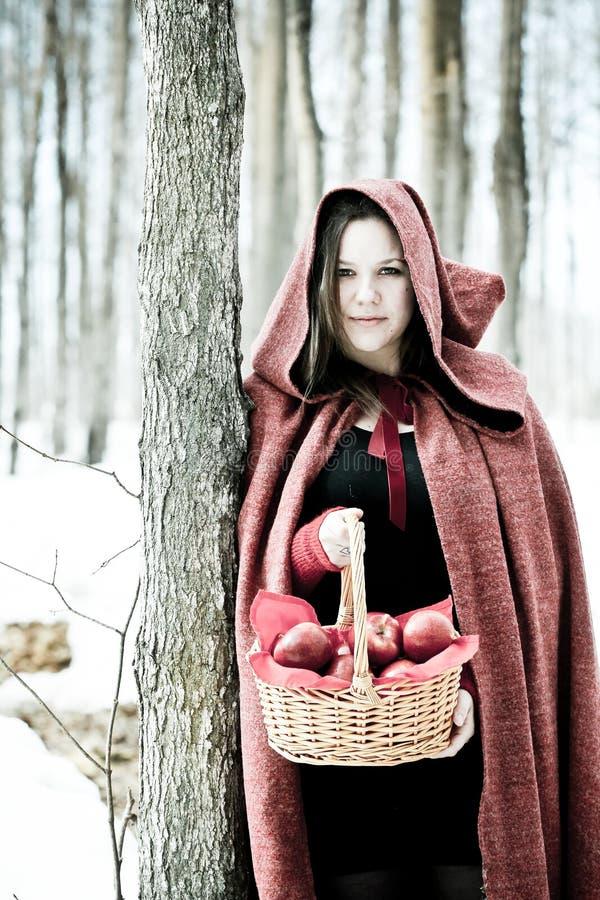 Kobieta z jabłkami zdjęcie royalty free