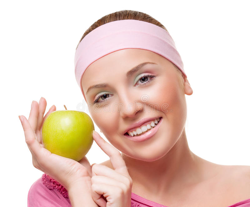 Kobieta z jabłkiem zdjęcia stock