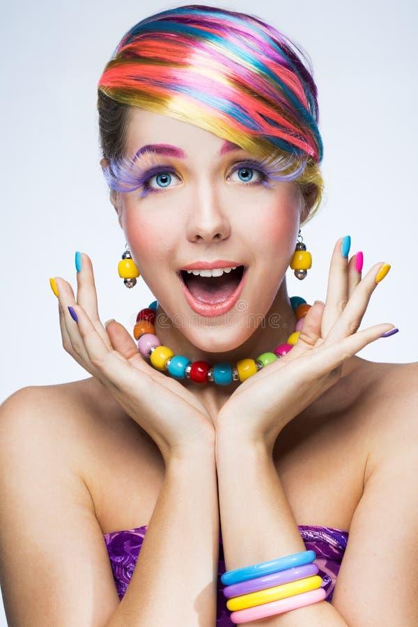 Kobieta z jaskrawym makeup zdjęcia royalty free