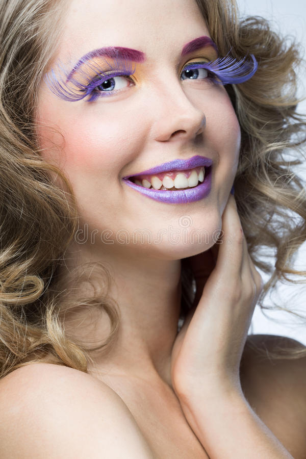 Kobieta z jaskrawym makeup obraz stock