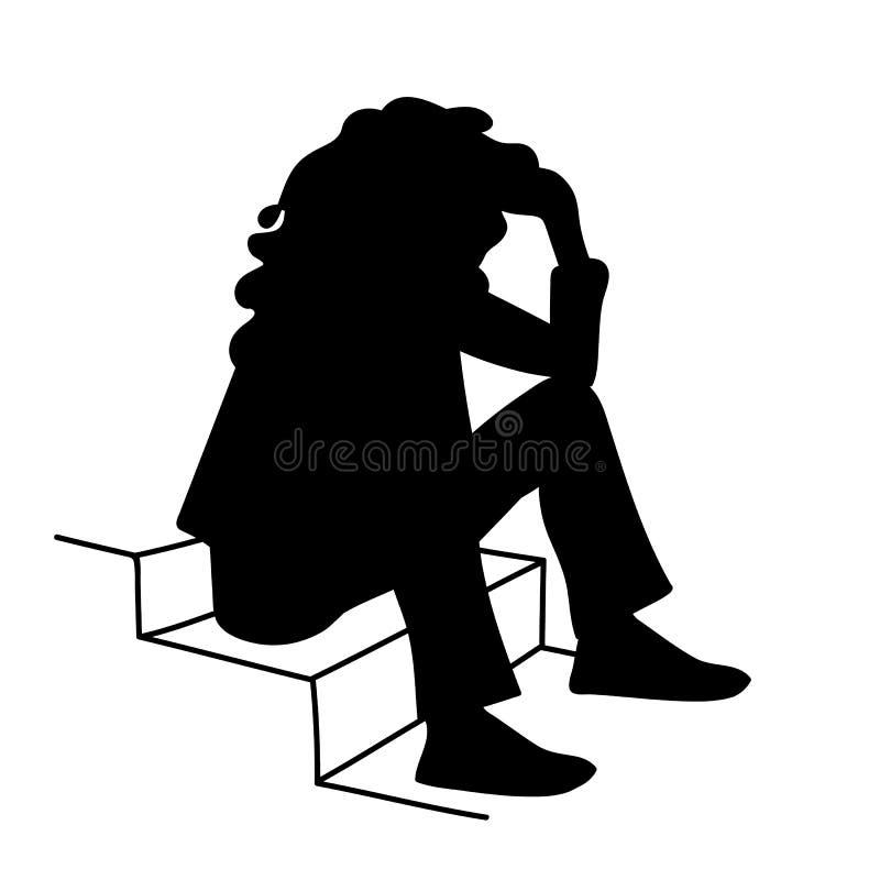Kobieta z kędzierzawego włosy obsiadaniem na schodkach stencil Wektorowa ilustracja czarna sylwetka odizolowywająca dalej siedząc ilustracji