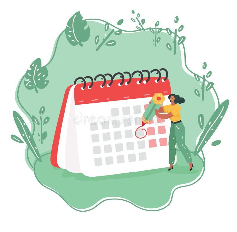 Kobieta z kalendarzową rozkład deską ilustracji
