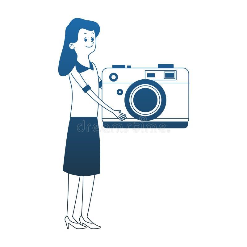 Kobieta z kamer niebieskimi liniami ilustracji