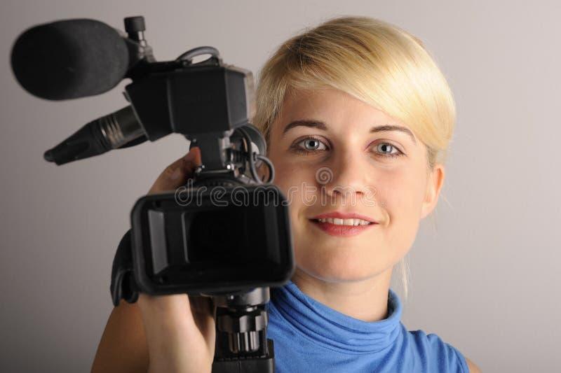 Kobieta z kamera wideo zdjęcie stock