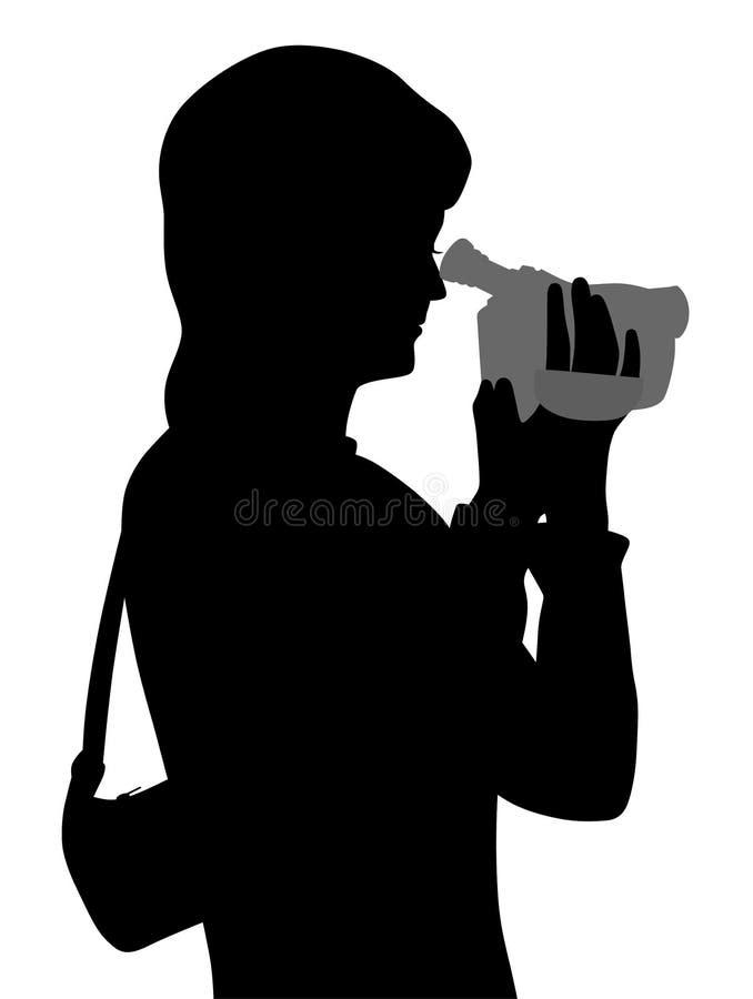 Kobieta z kamera wideo ilustracji