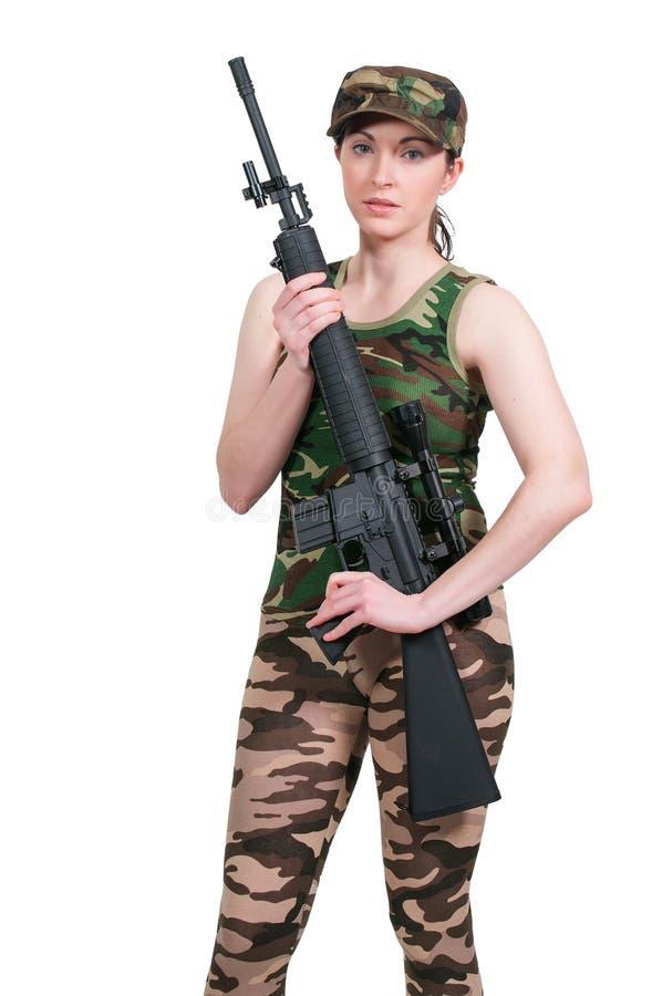 Kobieta z karabinem szturmowym zdjęcia stock