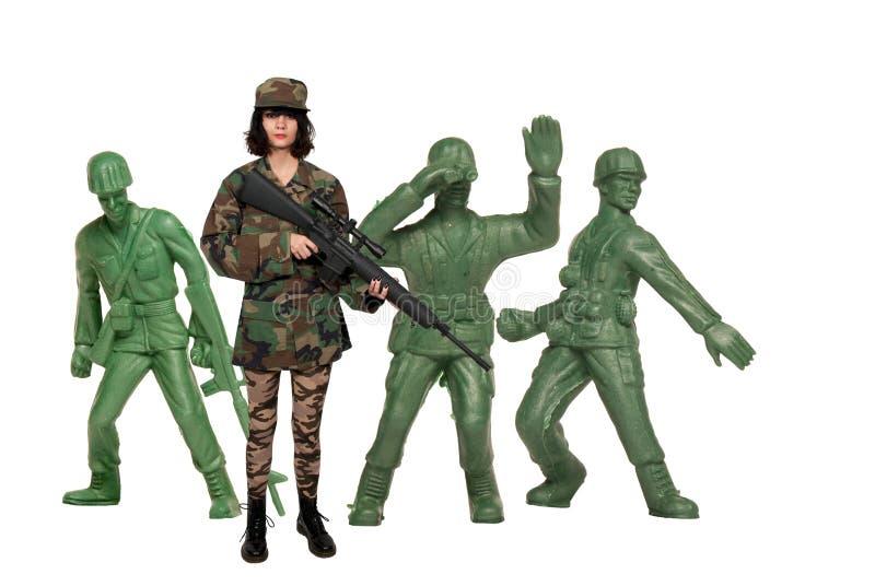 Kobieta z karabinem szturmowym obraz stock
