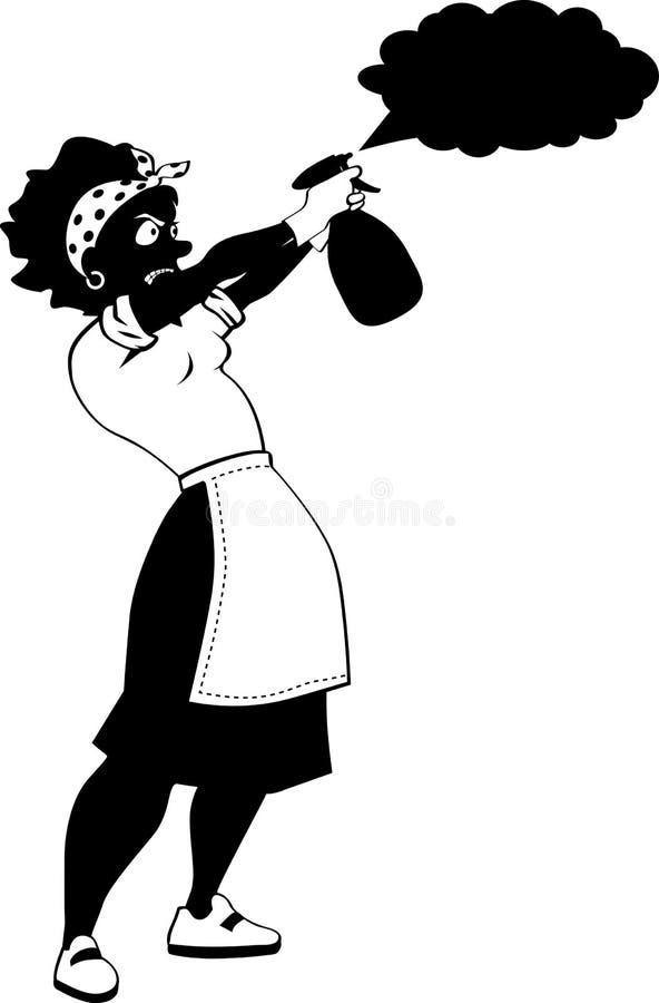 Kobieta z kiści butelką ilustracji