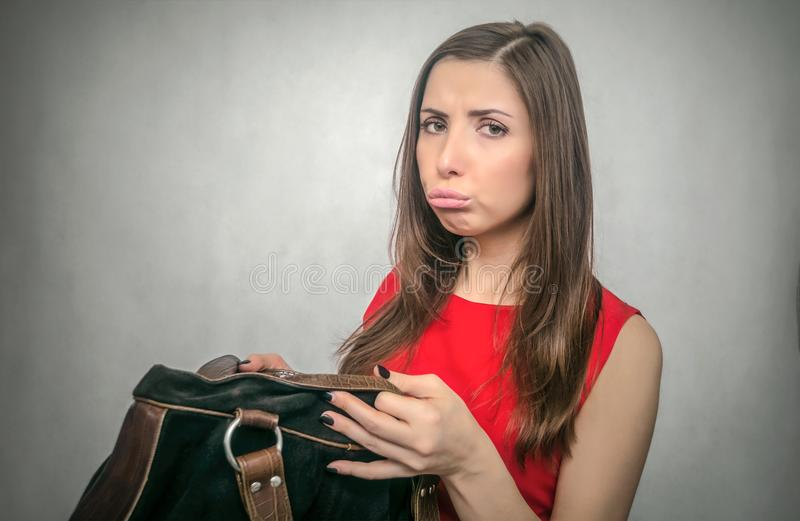 Kobieta z kiesy torbą obrazy royalty free