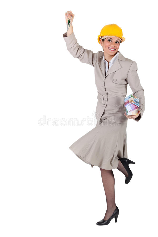 Kobieta z kluczami w ręce fotografia royalty free