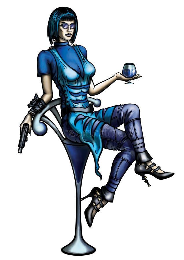 Kobieta z koktajlu szkłem i pistoletem ilustracji