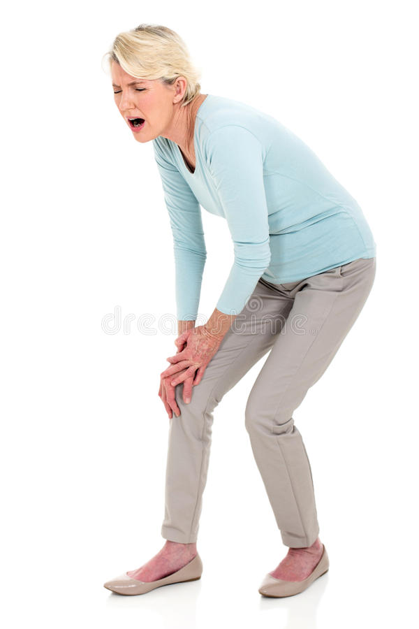 Kobieta z kolano bólem obraz royalty free