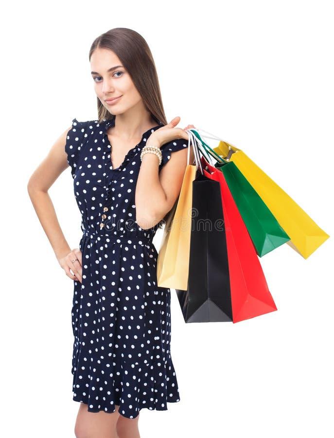 Kobieta z kolorowymi torba na zakupy zdjęcie royalty free