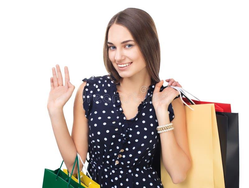 Kobieta z kolorowymi torba na zakupy obrazy stock