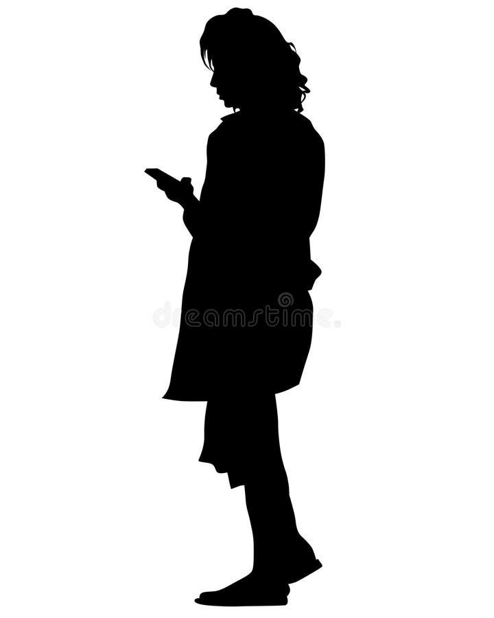 Kobieta z komórką trzy ilustracji
