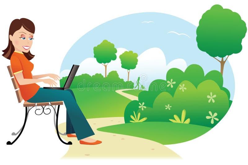 Kobieta z komputerem w parku ilustracja wektor