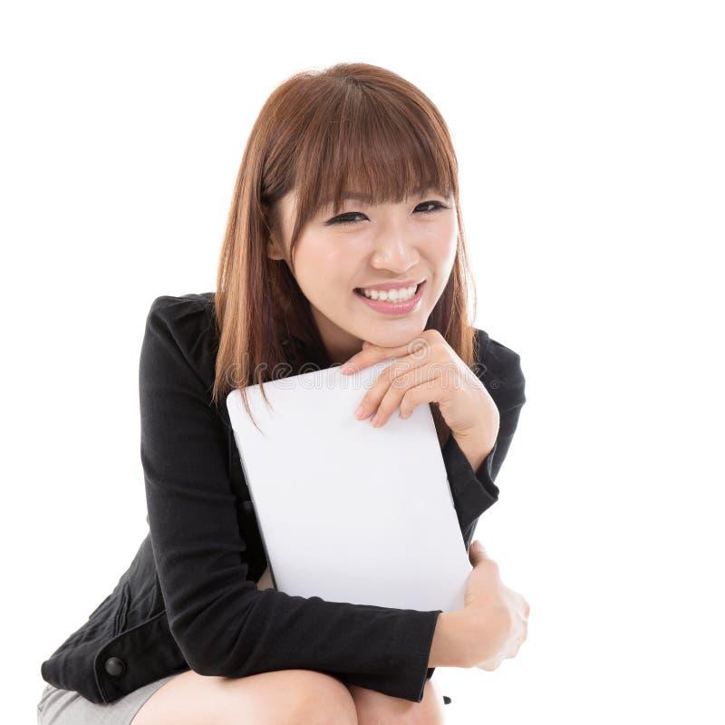 Kobieta z komputerową pastylką zdjęcie stock