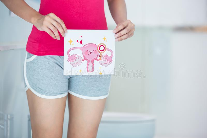 Kobieta z kreskówki macicy billboardem fotografia stock
