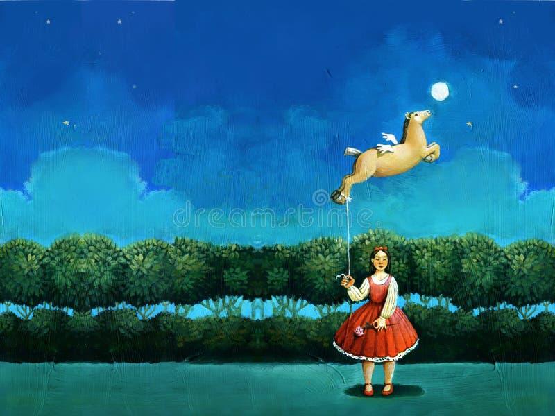 Kobieta z latającym koniem ilustracji