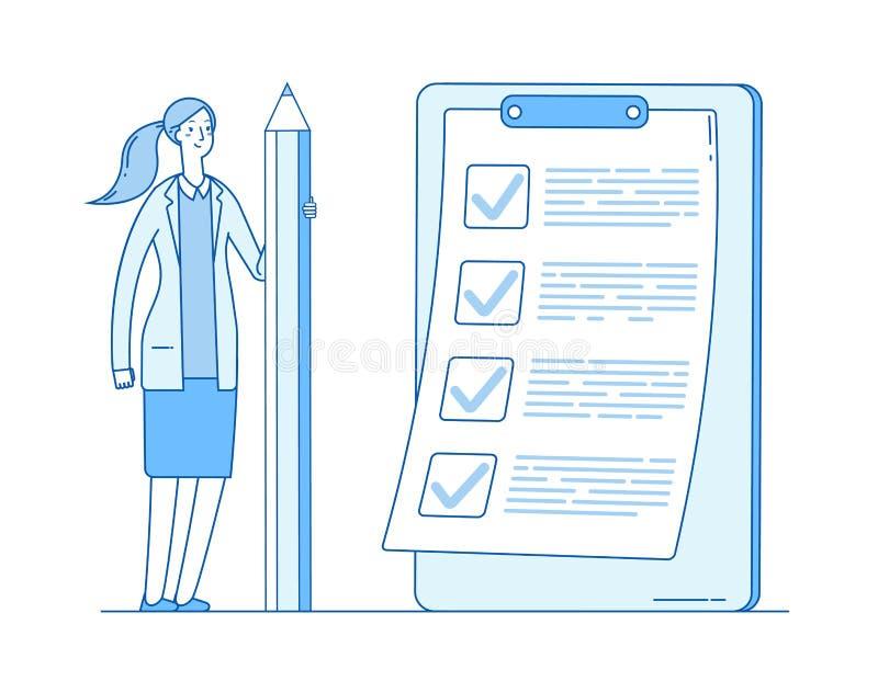 Kobieta z listy kontrolnej listy dziewczyny mienia Zupełnym biznesowym ołówkiem Pomyślny zadanie czeka oceny dokumentu uzupełniaj ilustracja wektor