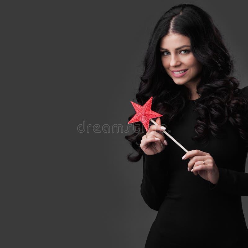 Kobieta z magiczną różdżką obrazy stock