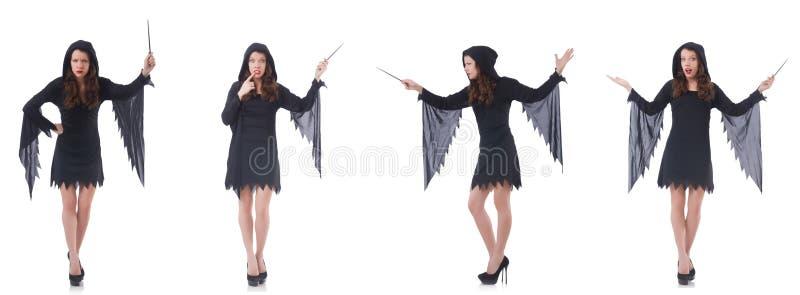 Kobieta z magicznym kijem odizolowywaj?cym na bielu zdjęcia stock