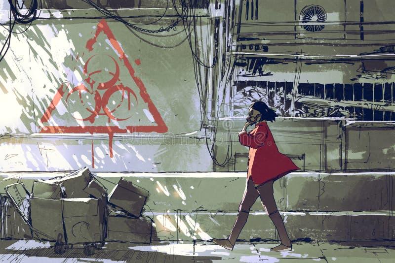 Kobieta z maski gazowej odprowadzeniem na ulicie ilustracja wektor