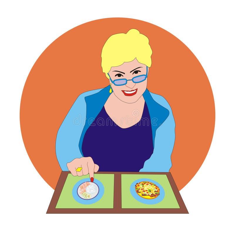 Kobieta z menu royalty ilustracja