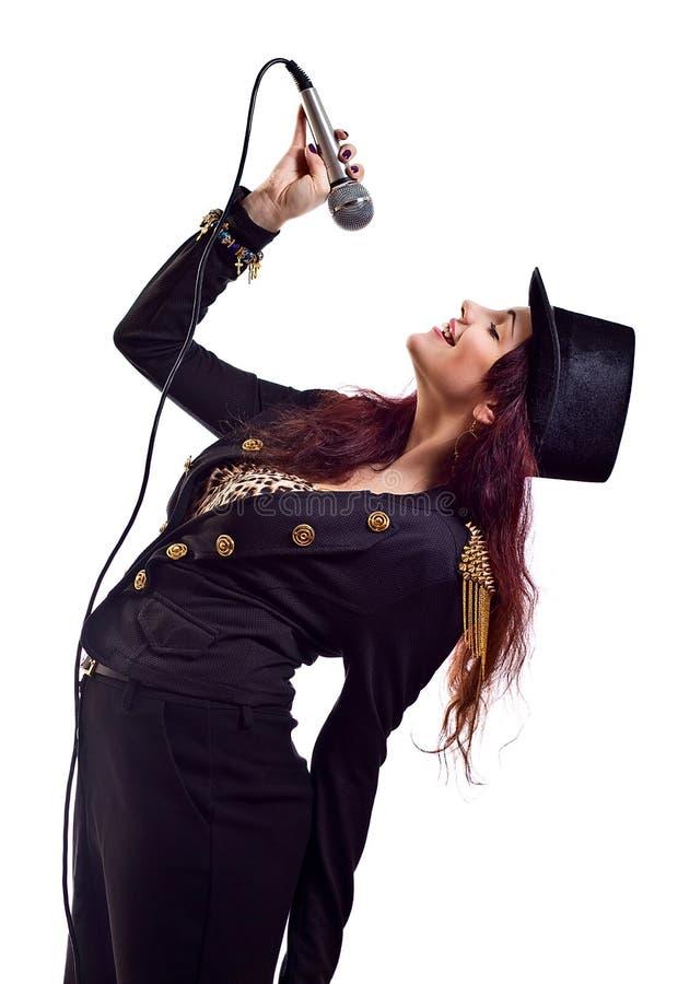 Kobieta z mikrofonem fotografia stock