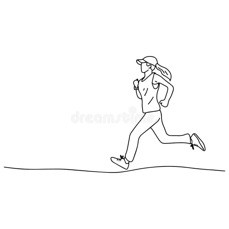 Kobieta z nakrętką jogging wektorową ilustracyjną nakreślenia doodle rękę rysującą z czerni liniami odizolowywać na białym tle ilustracja wektor