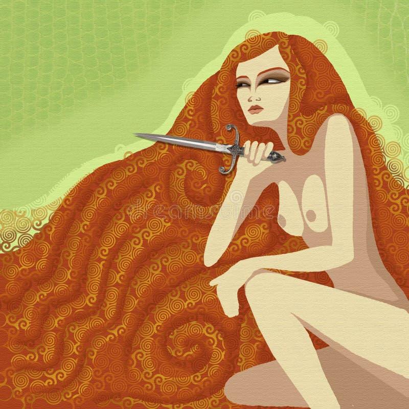 Kobieta z nożem ilustracja wektor