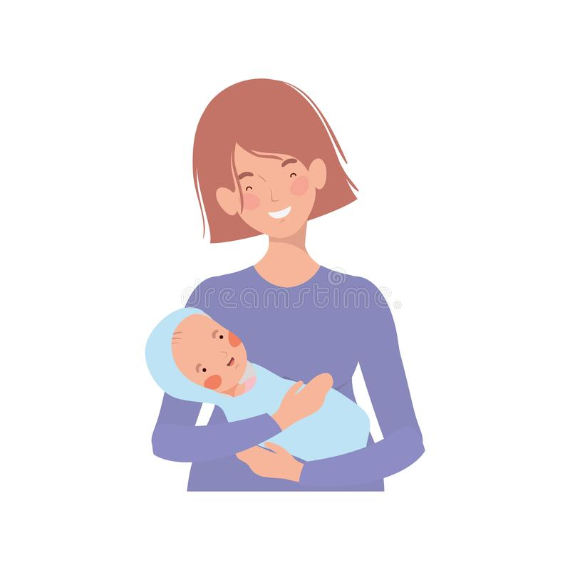 Kobieta z nowonarodzonym dzieckiem w ona ręki ilustracja wektor