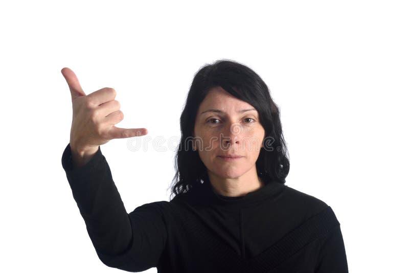 Kobieta z płeć znakiem fotografia stock