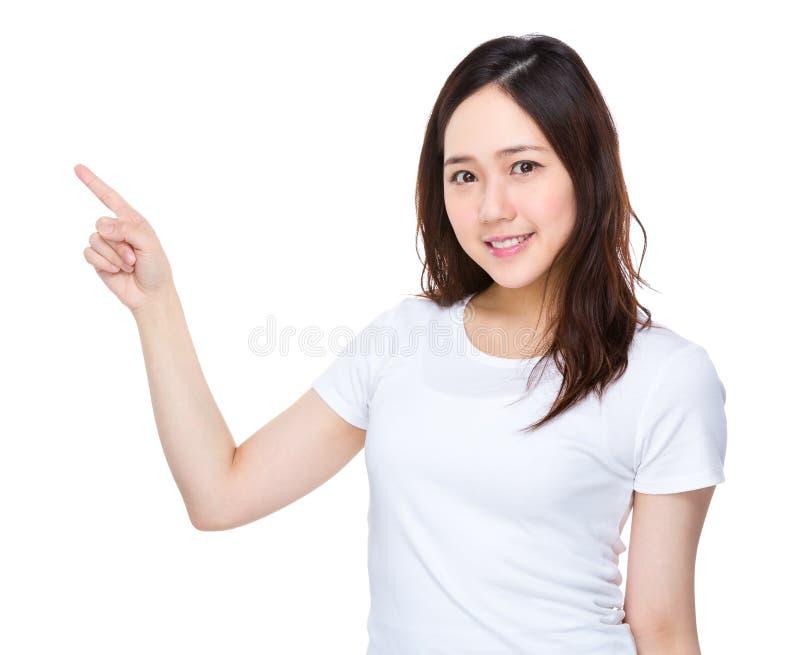 Kobieta z palcowym punktem up fotografia royalty free