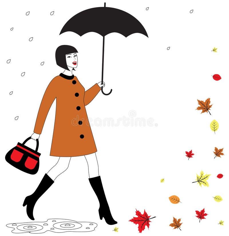 Kobieta z parasolem royalty ilustracja