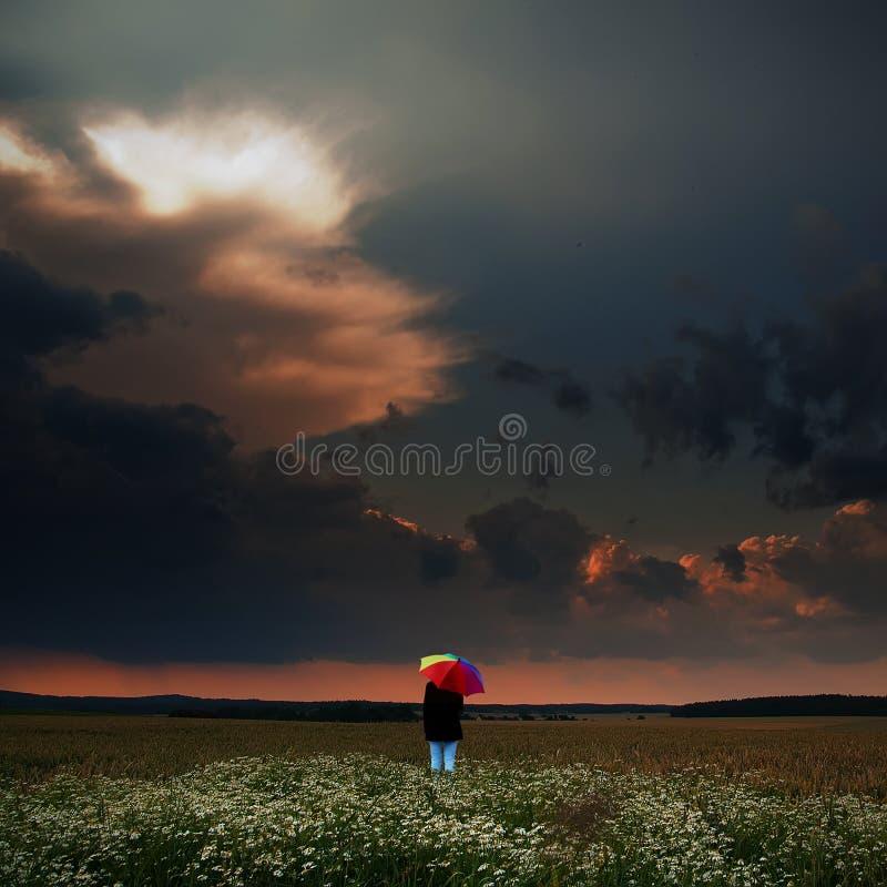 Kobieta z parasolem fotografia stock