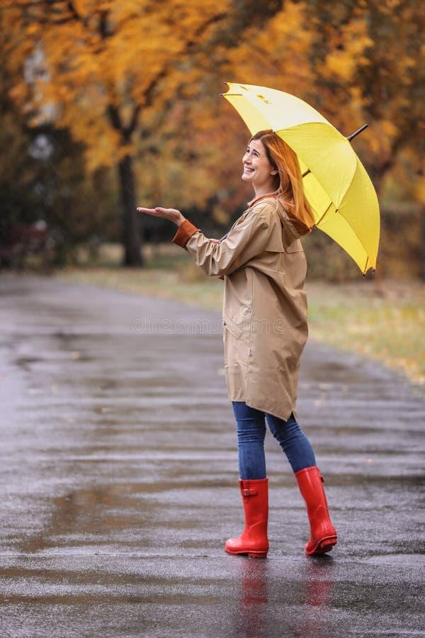 Kobieta z parasolowym bierze spacerem w jesień parku zdjęcia royalty free