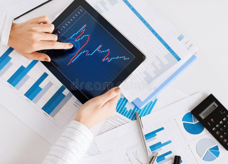 Kobieta z pastylka komputerem osobistym i mapa papierami obraz stock