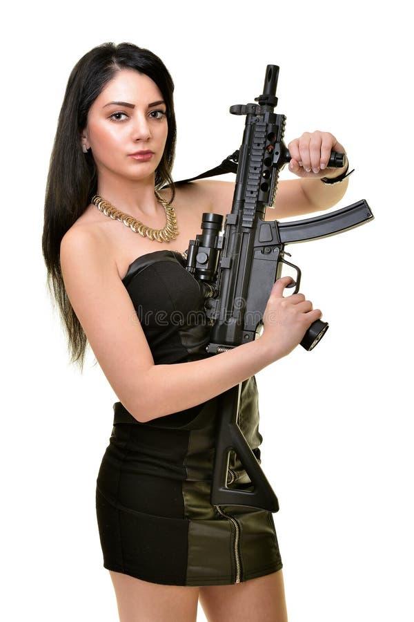 Kobieta z pistoletem fotografia stock