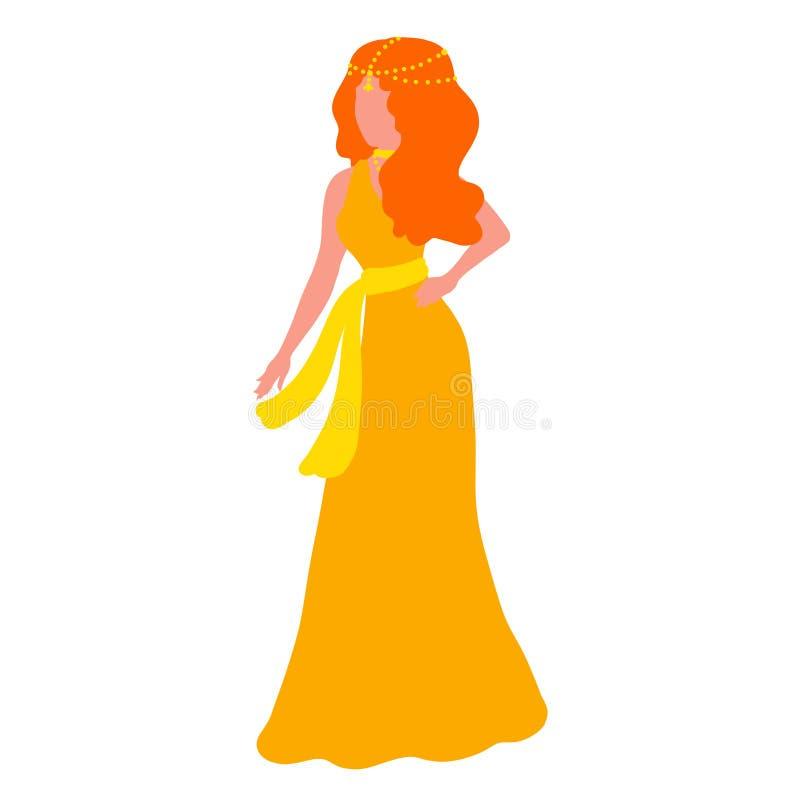 Kobieta z pomarańczowym włosy w długiej sukni z biżuterią ilustracji
