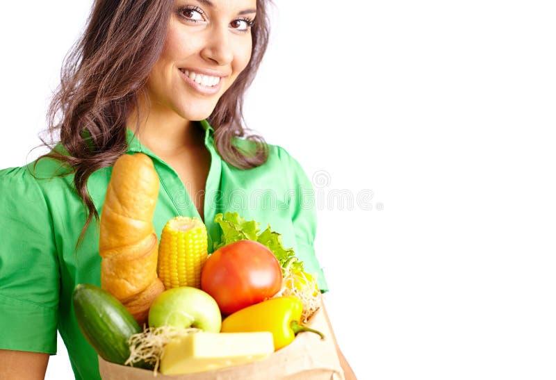 Kobieta z produktami zdjęcie stock
