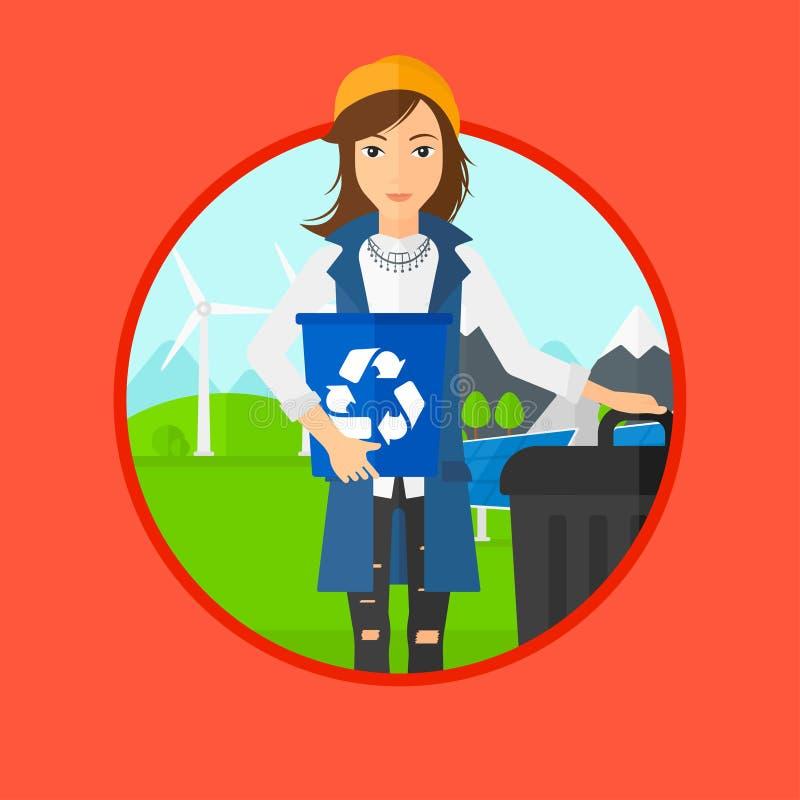 Kobieta z przetwarza kosz i kubeł na śmieci ilustracja wektor