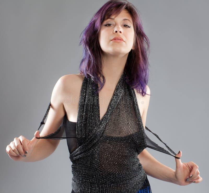 Kobieta Z Purpurowym włosy i Sparkly wierzchołkiem zdjęcie stock